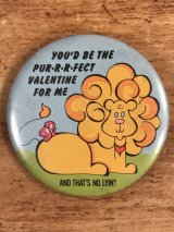 """You'd Be The Purrrfect Valentine For Me"" Message Pin Back メッセージ ビンテージ 缶バッジ 80年代"
