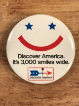 "Discover America ""It's 3,000 Smiles Wide."" Pin Back 企業物 ビンテージ 缶バッジ 70〜80年代"