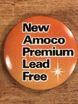 New Amoco Premium Lead Free Pin Back 企業物 ビンテージ 缶バッジ 70〜80年代