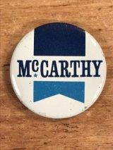 """McCarthy"" Pin Back 政治家 ビンテージ 缶バッジ 70〜80年代"