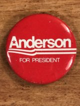 Anderson For President Pin Back 政治家 ビンテージ 缶バッジ 70〜80年代