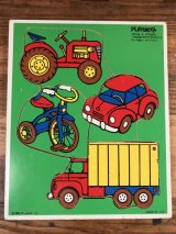 "Playskool ""Things With Wheels"" Wooden Puzzle 乗り物 ビンテージ パズル 80年代"