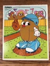 "Playskool Potato Head ""Slugger"" Wooden Puzzle ポトテヘッド ビンテージ パズル 80年代"