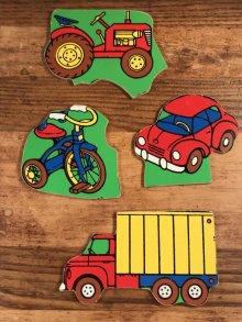 """他の写真2: Playskool """"Things With Wheels"""" Wooden Puzzle 乗り物 ビンテージ パズル 80年代"""