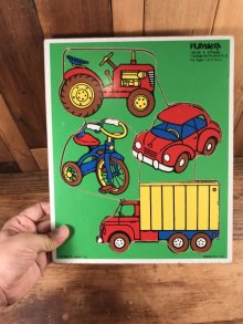 """他の写真3: Playskool """"Things With Wheels"""" Wooden Puzzle 乗り物 ビンテージ パズル 80年代"""