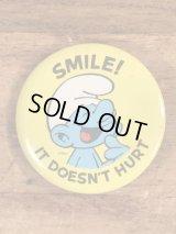 "Smurf ""Smile! It Doesn't Hurt"" Pinback スマーフ ビンテージ 缶バッジ 缶バッチ 80年代"