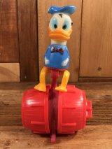 """Disney Donald Duck """"Barrel Ride"""" Wind-Up Toy ドナルドダック ビンテージ ワインドアップトイ ゼンマイ人形 70年代"""