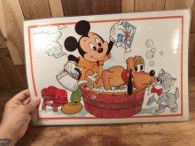 """他の写真1: Disney """"Mickey Mouse & Pluto"""" Vinyl Placemat ミッキーマウス ビンテージ ランチョンマット プレースマット 70〜80年代"""