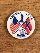 Norwegian Americans Lenge Leve Pinback ノルウェー系アメリカ人 ビンテージ 缶バッジ 缶バッチ 〜70年代