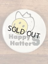 Happy Hatters Smile Face Pinback スマイル ビンテージ 缶バッジ 缶バッチ 70年代〜