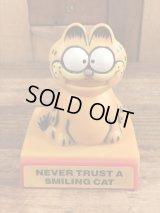 "Garfield ""Never Trust A Smiling Cat"" Plastic Push Gimmick Toy ガーフィールド ビンテージ ギミックトイ 80年代"