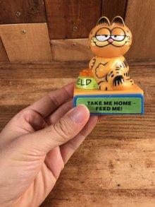 """他の写真1: Garfield """"Take Me Home-Feed Me!"""" Plastic Push Gimmick Toy ガーフィールド ビンテージ ギミックトイ 80年代"""