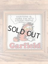 "Garfield ""Everything Is..."" Art Glass Plate Wall Hanging ガーフィールド ビンテージ 壁掛け ガラスプレート 70〜80年代"