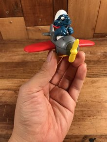 """他の写真3: Schleich Super Smurf """"Airplane"""" PVC Figure スマーフ ビンテージ PVCフィギュア スーパースマーフ 80年代"""