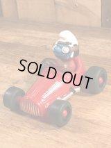 "Schleich Super Smurf ""Racing Car"" PVC Figure スマーフ ビンテージ PVCフィギュア スーパースマーフ 90年代"