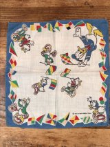 "Disney Character ""Donald Duck"" Cotton Kids Handkerchief ドナルドダック ビンテージ キッズハンカチ ダックファミリ― 50年代"