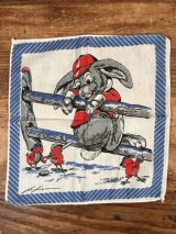 Rabbit & Chicks Cotton Kids Handkerchief ウサギ&ヒヨコ ビンテージ キッズハンカチ 50年代