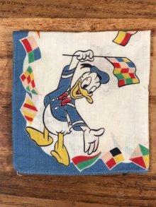 """他の写真2: Disney Character """"Donald Duck"""" Cotton Kids Handkerchief ドナルドダック ビンテージ キッズハンカチ ダックファミリ― 50年代"""
