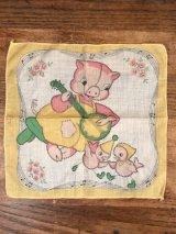 Banjo Pig Cotton Kids Handkerchief ブタ ビンテージ キッズハンカチ 50年代