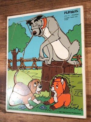 80'sのディズニーのきつねと猟犬のヴィンテージのウッドパズル