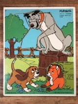 "Playskool Disney ""The Fox and the Hound"" Wood Puzzle きつねと猟犬 ビンテージ ウッドパズル ディズニー 80年代"