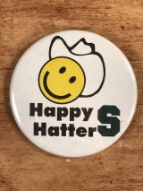 "Smile Face ""Happy Hatters"" Pinback スマイル ビンテージ 缶バッジ 企業物 缶バッチ 70年代〜"