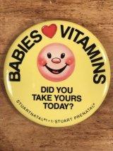 "Smile Face ""Babies Vitamins"" Pinback スマイル ビンテージ 缶バッジ 企業物 缶バッチ 70年代〜"