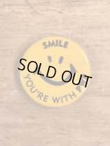 "Smile Face ""You're With PWP"" Pinback スマイル ビンテージ 缶バッジ 企業物 缶バッチ 70年代〜"