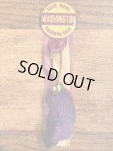 """Rose Bowl """"Washington"""" Rabbit Foot Lucky Charm Keychain & Pinback ラビットラッキーチャーム ビンテージ キーチェーン&缶バッジ USA 50年代"""