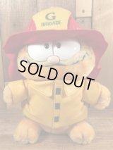 "Dakin Garfield ""Fire Brigade"" Plush Doll ガーフィールド ビンテージ プラッシュドール 消防団 80年代"