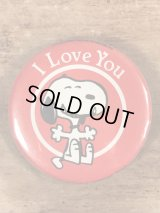 """Butterfly Peanuts Snoopy """"I Love You"""" Pinback スヌーピー ビンテージ 缶バッジ 80年代"""