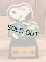 """Aviva Peanuts Snoopy """"Run For Fun"""" Trophy スヌーピー ビンテージ トロフィー ウッドストック 70年代"""