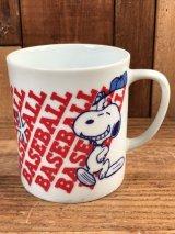"Peanuts Snoopy ""Baseball"" Ceramic Mug スヌーピー ビンテージ マグカップ 陶器 70年代"