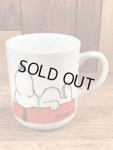 "Another Determined Peanuts Snoopy ""I'm Not Worth..."" Ceramic Mug スヌーピー ビンテージ マグカップ 陶器 70〜80年代"