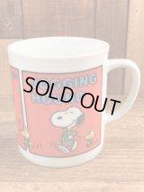 "Peanuts Snoopy ""Jogging Hound"" Ceramic Mug スヌーピー ビンテージ マグカップ 陶器 70年代"