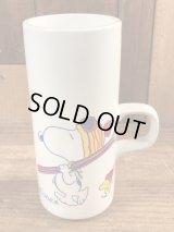 "Peanuts Snoopy ""To The Bunny Slope!"" Ceramic Mug スヌーピー ビンテージ マグカップ 陶器 70年代"