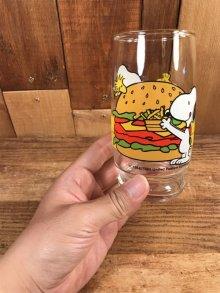 """他の写真3: Peanuts Snoopy """"hamburger & Hotdog"""" Glass スヌーピー ビンテージ グラスコップ 70〜80年代"""
