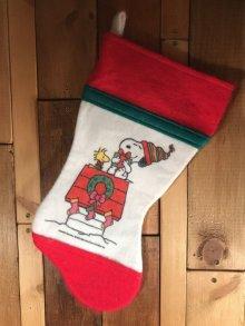 他の写真2: Peanuts Snoopy & Woodstock Christmas Sock スヌーピー ビンテージ 靴下 クリスマス 70〜80年代