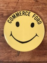 """""""Commerce Ford"""" Smile Pinback スマイルフェイス ビンテージ 缶バッジ 缶バッチ 70年代"""