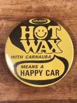 """Hot Wax Means A Happy Car"" Smile Pinback スマイルフェイス ビンテージ 缶バッジ 缶バッチ 70〜80年代"
