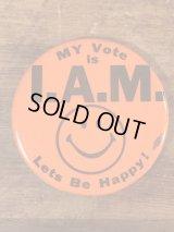 """My Vote Is I.A.M."" Smile Pinback スマイルフェイス ビンテージ 缶バッジ 缶バッチ 70年代"