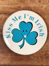 """""""Kiss Me I'm Irish"""" Smile Pinback スマイルフェイス ビンテージ 缶バッジ 缶バッチ 80年代"""