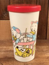 """Disney """"Duck Family"""" Plastic Tumbler ダックファミリ― ビンテージ タンブラー ドナルドダック 60~70年代"""