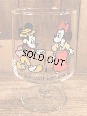 70年代頃のミッキー&ミニーマウスのビンテージのグラス