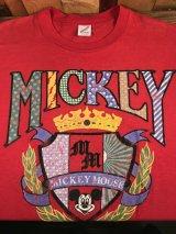 "Disney Mickey Mouse ""Coat of Arms"" T-Shirt ミッキーマウス ビンテージ Tシャツ ディズニー 80~90年代"
