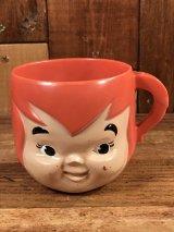 "Flintstones ""Pebbles"" Plastic Mug ペブルス ビンテージ マグカップ フリントストーン 60年代"