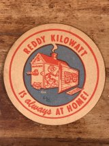 "Reddy Kilowatt ""Is Always At Home!"" Coaster レディキロワット ビンテージ コースター 50~60年代"