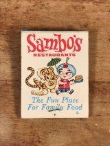 """Universal Match """"Sambo's Restaurants"""" Matchbook サンボ ビンテージ マッチブック サンボタイガー 50〜60年代"""