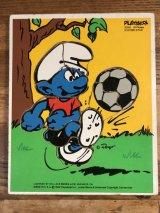 Playskool Smurf Football Wood Puzzle スマーフ ビンテージ パズル 80年代
