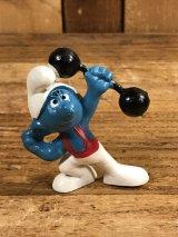 """Schleich Smurf """"Barbell"""" PVC Figure スマーフ ビンテージ PVCフィギュア 70年代"""